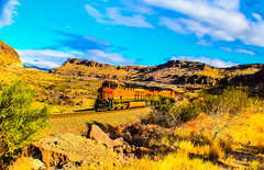 The Kingman Local (Woodypug) Tags: transcon trains locomotive landscape mohave weather bnsf kingmancanyon beauty arizona