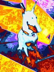 Techno Dobie (Carla Putnam) Tags: dogart dobermanart psychedelicart popart dog doberman colorful multicolor digitalarttaiwan dobie dobermanpinscher dobermanpinscherart technicolor tripping