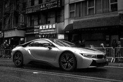 BMW i8 in Chinatown (elohca) Tags: bmw i8 sony a7 a7ii 35mm f2 sports car super fast stylish sexy wet parade party festival lunar new year chinese chinatown nyc york city manhattan