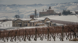 Langhe, vineyards and castles.