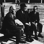 "Chancellor John Caldwell (left), McCree Smith and landscape architect Hal McNeely (right) at the official dedication of the ""brick mall project"" on Founders' Day 1968 as published on the front page of Technician."