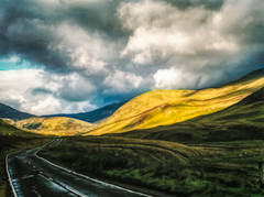 On the road in the Cairngorms (Colormaniac too - Many thanks for your visits!) Tags: scotland cairngorms uk europe sunshineandshadow cloudscape landscape road outdoors colorful travel digitalpainting topazstudio roadtrip netartii