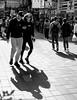 Symmetry - of sorts (Pexpix) Tags: shadows walking busy blackandwhite contrejour street bw hongkong hongkongisland hk 攝影發燒友