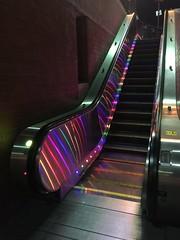 Escalator at the Castro Street Muni Metro stop (JoeGarity) Tags: lights rainbow thecastro lgbt gay underground muni streetcar castrostreet sanfrancisco