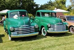 Chevrolet pickup pair (carphoto) Tags: 1952chevroletpickup 1949 chevrolet pickup 5 window2017 kirkfield car show© richard spiegelman carphoto