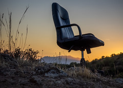 Sunset chair (Dan Österberg) Tags: sunset chair officechair leather outdooroffice evening marbella spain nature outdoor leftover left alone solo nobody