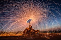 Fire on Fossil Rocks (hisalman) Tags: steelwoolphotography steelwool fire lightpainting fossil rocks abudhabi desert uae performingart hisalman salmanahmed