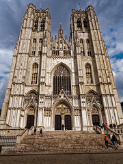 Cathedral building (Ciddi Biri) Tags: 11thcentury 9thcentury belgium brussels janvanruysbroeck architecture barbariangothic believe building cathedral faith gothicstyle historical medieval peace religion safe soul twotowers romancatholic m43turkiye 1442iir 1442 kitlens