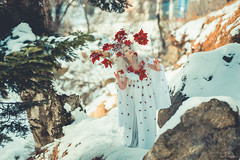 """TEATRONATURA """"The Spirit of winter"""" (valeriafoglia) Tags: model makeup magic art atmosphere winter wood white ethereal red flowers fantasy fairy forest photo photography portrait pretty creative colors composition capture creature outfit stylist spirit beautiful beauty"""