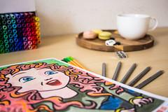 Dessin Disney 4/52 (Happy Adi) Tags: dessin drawing disney rebelle brave couleur couleurs colors tea thé macarons strasbourg france crayons feutres projet52 52project canon 60d 24mm disneymystere art thérapie pause adulte