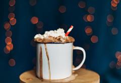 Festive coco (WillemijnB) Tags: foam whipped cream enamal mug bokeh midnight blue wooden table orange spill spilled straw holidays