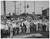 Railroad workers defy Truman; resume strike: 1946 (Washington Area Spark) Tags: 1946 strike wave brotherhood locomotive engineers trainmen railroad workers work stoppage walk out cooling off president harry truman seize union meeting potomac yards alexandria virginia