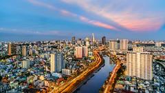 Hoàng hôn Sài Gòn nhìn từ Golview (TNR) (daihocsi [(+84) 918.255.567]) Tags: saigon skyline hoànghôn sunset