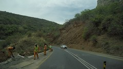 gopr4704_002 (Mr. Pi) Tags: constructionwork mountains hills road ontheroad dirtywindow southafrica