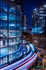 """the """"L"""" chicago (skeem125) Tags: chicago lighttrails night city train thel illinois midwestcities blue lights"""