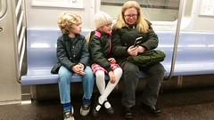 Sue & The Kids On The Subway (Joe Shlabotnik) Tags: 2018 galaxys5 sue violet january2018 subway everett cameraphone proudparents