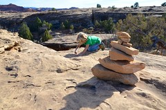 Everett And A Cairn On The Cave Springs Trail (Joe Shlabotnik) Tags: november2017 nationalpark utah hiking 2017 justeverett canyonlands everett cairn canyonlandsnationalpark afsdxvrzoomnikkor18105mmf3556ged