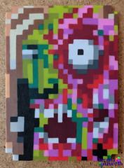 SerenaAzureth_ATC_PunkZombie2 (SerenaAzureth) Tags: serenaazureth perler hama bead sprite mini atc artist trading card pixel swapbot swap bot punk green zombie halloween