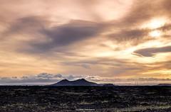 Beautiful Iceland (bernd obervossbeck) Tags: iceland island weite vastness width landscape landschaft landscapephotography landschaftsfotografie berg mountain himmel abendlicht abend abendstimmung sky eveningsky eveninglight skandinavien scandinavia ebene plain strommasten powerpoles fujixt1 fuji berndobervossbeck xf1855mmf284rlmois gras grass lavagestein lavarock vulkan volcano