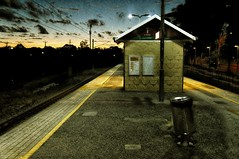 See  My Tailor, He's Called Simon.......... (Electric Soup) Tags: railwaystation woodbridge pta twilight evening gloaming trains tracks waitingroom platform perth westernaustralia transport chemindefer