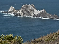 California's Pacific Coast, Devil's Slide Trail, a Closed Section of Highway 1, Layered Rocks Sinking into the Ocean like a Sinking Ocean Liner (Mary Warren 10.1+ Million Views) Tags: california pacificocean water nature landscape rocks