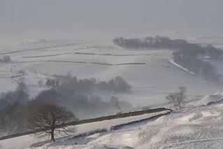 Storm Emma, Hayfield, Peak District National Park, Derbyshire, England.