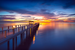 Wooden bridge at the sea at sunset (Patrick Foto ;)) Tags: background bay beach beautiful beauty blue coast coastal coastline color dawn dream dusk evening horizon landscape light nature ocean orange peaceful reflection resort rock scene scenic sea seascape season shapes shore silhouette sky stone summer sun sunny sunrise sunset tourism tranquil travel vacation view water wave weather tambonsaensuk changwatchonburi thailand th