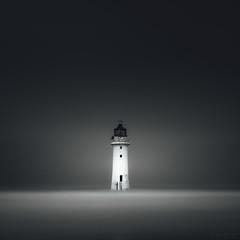 The Lighthouse (laura.hacking) Tags: lighthouse seascape blackandwhite square minimalist sea coast ocean hightide longexposure perchrock appicoftheweek