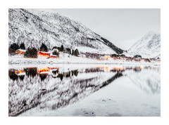 After the Snow (Vemsteroo) Tags: norway lofoten huts redhuts lofotenislands snow mountains longexposure taillights lighttrail dusk winter cold reflection shoreline tide canon 5d mkiv 1635 leefilters circularpolariser travel outdoors exploring