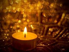 Flame for Macro Monday (MairéadNiRodaigh) Tags: macromonday candle flame bokeh tealight