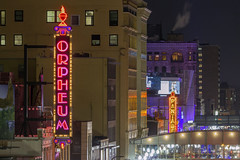 The Orpheum on Hennepin Avenue (Sam Wagner Photography) Tags: downtown minneapolis orpheum pantages theater district entertainment show neon lights signs night decorative festive city cityscape telephoto zoom close up colorful buildings architecture modern urban hennepin minnesota midwest twin cities