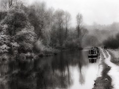 Almost Another Time (Bill Eiffert) Tags: old barge landscape water canal nostalgia people trees reflections heron