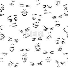 Seamless Set of Faces (Hebstreits) Tags: abstract animal art baby backdrop background beauty black cartoon character children collection color cute decor decoration decorative design doodle drawing element fabric face fashion fun funny girl graphic happy head icon illustration isolated ornament paper pattern people person retro seamless set smile style symbol textile texture tile vector wallpaper white