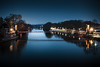 Moonrise (der-ernst) Tags: moonrise cityscape night nightscape city cityatnight bluehour blue sky skyline kassel casselfornia river bridge dark longtimeexposure longexpo wideangle nikon sigma