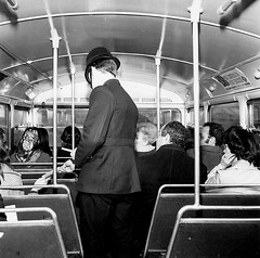 Met Police officer handing out murder incident leaflets on a bus in late 1960's. (Ledlon89) Tags: bus buses rtbus rt aecregent lt lte londontransport trnasport londonbus londonbuses murder police met metroploitanpolice copper insidebus pc policeconstable rotherhithe