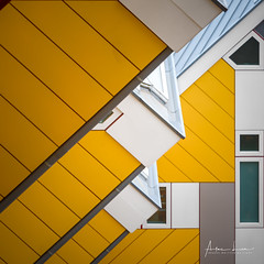 Yellow Submarine VI (Alec Lux) Tags: pietblom rotterdam architecture building city cube cubism design detail details fragment fragments geometric geometry hexagon holland house houses kaleidoscope kubuswoningen netherlands structure urban water