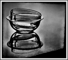 Glass bowls (Bob R.L. Evans) Tags: graytones blackandwhite composition glassbowls lightandshadow reflection unusual minimalism abstract baking cooking preparingfood foodphotography availablelight