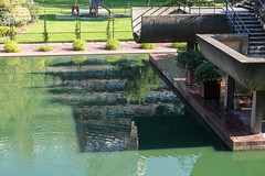 Barbican reflections (Spannarama) Tags: buildings architecture barbican lake reflections concrete brutalist green sunshine shadow water london uk