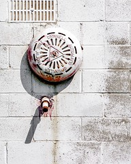 Red alert (Dan Fleury) Tags: bell sprinkler alarm circle round red bright highkey white mono