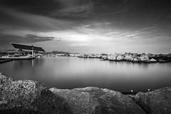 A peaceful moment (Lluvia Fotografia) Tags: seascape landscape photovoltaic forum barcelona catalonia longexposure ndfilter haida rocks sky blackandwhite light reflection sunset