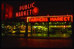 Seattle, Washington: Pike Place Market (rocinante11) Tags: approved neon night ambient ambientlight longexposure timesexposure seattle washington red film slidefilm filmcamera slide pikeplace market