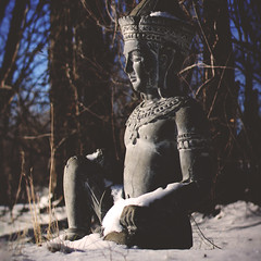 3 / 52 : 1 (Randomographer) Tags: 52weeks meditation still statue snow winter breath sit sitting shadow concrete stone carving 3 52 2018