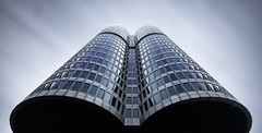 Vierzylinder (Robert_Franz) Tags: architecture architectural architektur müchen munich germany geometry building skyscraper exterior longexposure lookup design abstract futuristic fineart filter facade wideangle effect reflection urban city colors nd