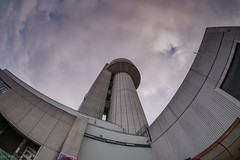Different View of Daresbury Tower (joanjbberry) Tags: xt2 fisheye tower daresbury daresburylaboratory warrington cheshire workplace buildings highrise laboratory