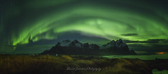 Northern lights on Vestrahorn (Ricard Sánchez Gadea) Tags: oriental islandia is stokksness canon1635 canonef1635mmf28liiusm canon catalunya canonistas 6d 6deos eos6d canon6d canoneos6d playa platja beach iceland worldphotoxperience airelibre cielo océano agua arena paisaje mar costa serenidad borealis auroraboreal verde verd green panoramica panoramic lanscape lightroom luzdeluna noche nit night aurora vestrahorn northernlights