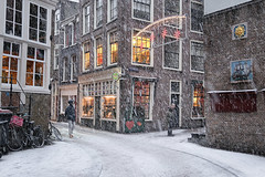 "Getting warm at Amsterdam's cosiest cafe ""De Hartjes"" (B℮n) Tags: bike snow covered bikes bicycle holland netherlands canals winter cold wester church street anne dutch people scooter gezellig cafés snowy snowfall atmosphere colorful walk walking cozy light corner water canal weather cool celcius mokum pakhuis grachtengordel unesco world heritage sled sleding slee nowandthen meeuw seagulls meeuwen bycicle 1°c shadows sneeuw flakes wind code rood oudezijdsvoorburgwal walletjes redlight amsterdam stnicholas armbrug sintolofssteeg oudezijdskolk zeedijk café dehartjes gevelsteen schip zon nieuwebrugsteeg 50faves topf50 100faves topf100 200faves topf200"