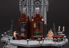 The Batcave – 1. Costume Displays (Xenomurphy) Tags: lego moc bricks afol batman batcave robin dccomics brucewayne dickgrayson darkknight costumes gothic