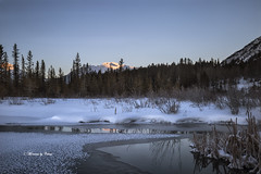 Ice Peak (Canon Queen Rocks (2,130,000 + views)) Tags: water ice frozen snow winter landscape lake landscapes lakes vermillionlakes dawn sunrise nature trees sky blues nationalpark natural banffnationalpark canada momentsbycelinecom