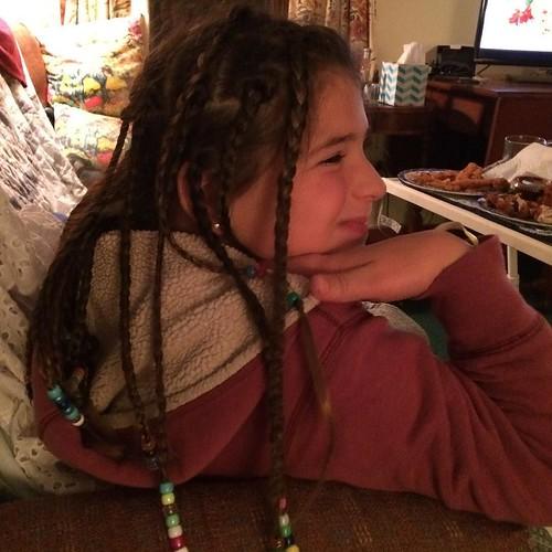 Sadie shows off her braids #granddaughter #braids #happygirl #wintervisit #amityfarmbatik