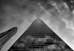 Glass Towers (III) (Reprocessed) [BW] (Modesto Vega) Tags: nikon nikond600 d600 fullframe architect architecture arquitectura arquitecto madrid skyscraper rascacielos césarpelli cuatrotorresbusinessarea cbta spacetower peicobbfreed torredecristal towerofglass henryncobb